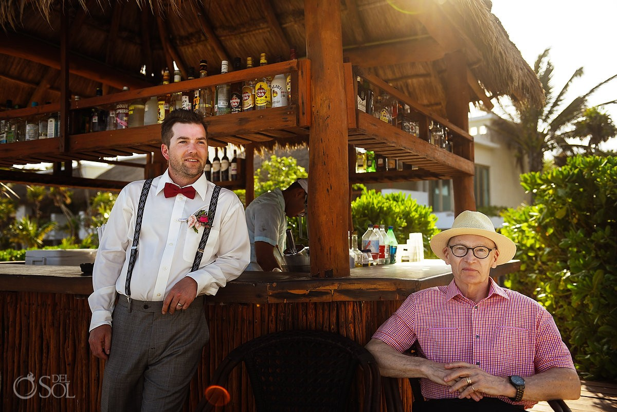 guests relaxing beach bar beautiful light, getting ready destination wedding Valentin Imperial Maya