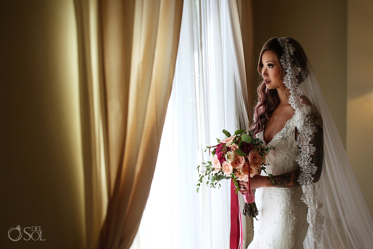 beautiful asian bride bridal portrait, Mexican vibe Mexico style, pink hair cathedral veil, getting ready destination wedding Valentin Imperial Maya