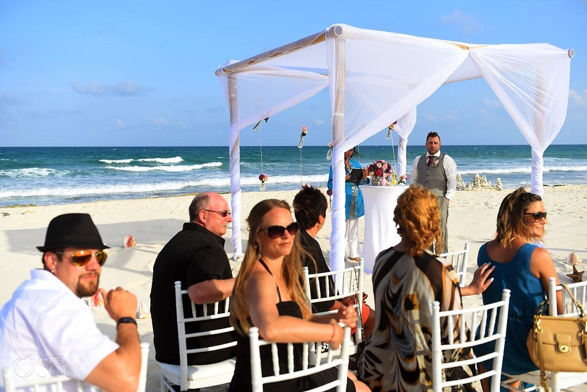 groom waiting for bride, beach destination wedding Valentin Imperial Maya