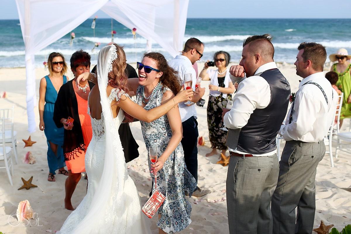 hugs destination beach wedding Valentin Imperial Maya, Playa del Carmen, Mexico