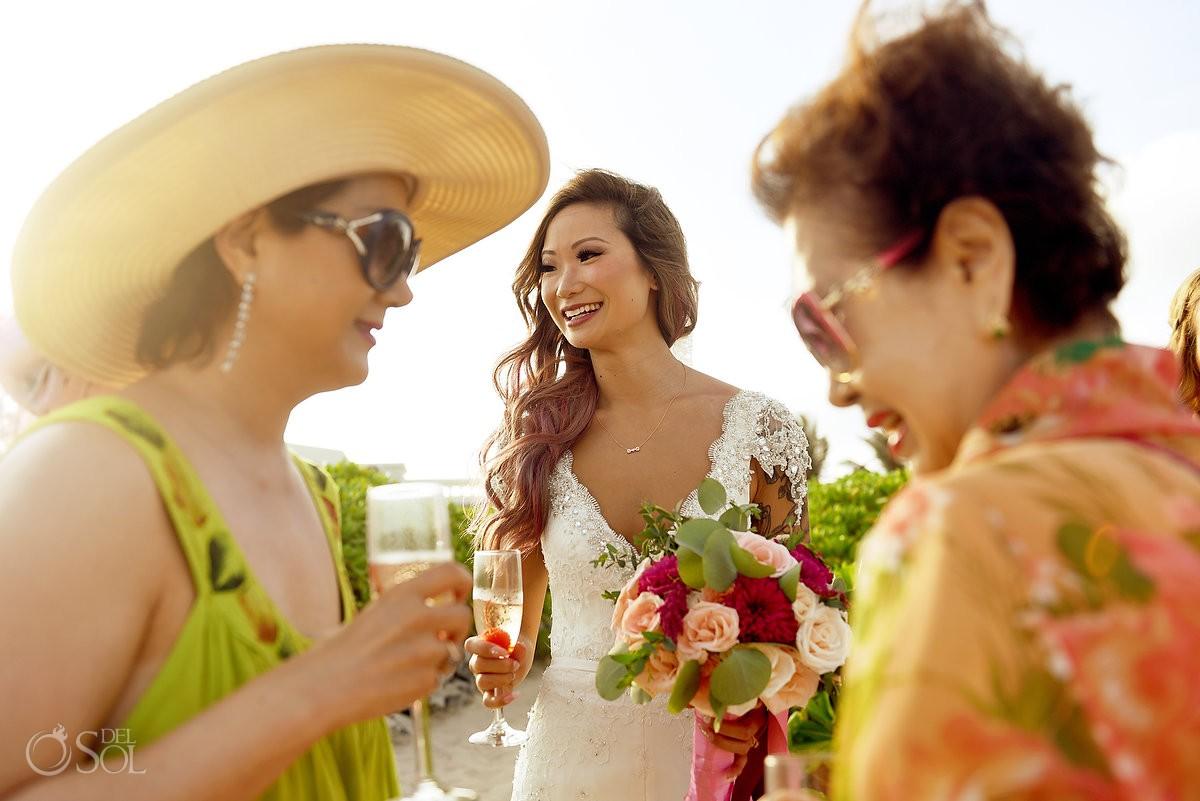 candid bride portrait, destination wedding Valentin Imperial Maya beach, Playa del Carmen, Mexico