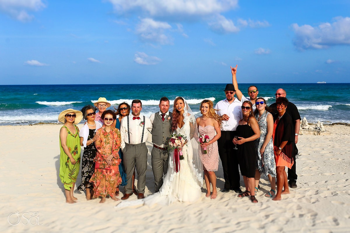 destination wedding fun family formal beach portrait, Valentin Imperial Maya, Playa del Carmen, Mexico