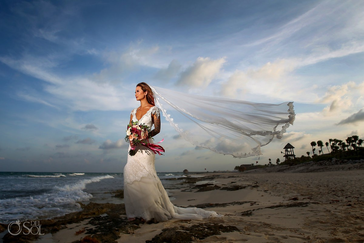 destination wedding beautiful asian bride bridal beach portrait, Valentin Imperial Maya, Playa del Carmen, Mexico