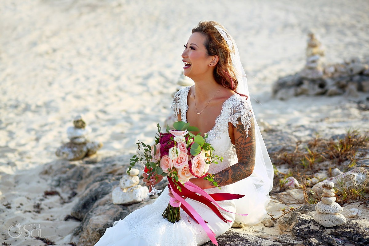 destination wedding bride bridal beach portrait, Valentin Imperial Maya, Playa del Carmen, Mexico
