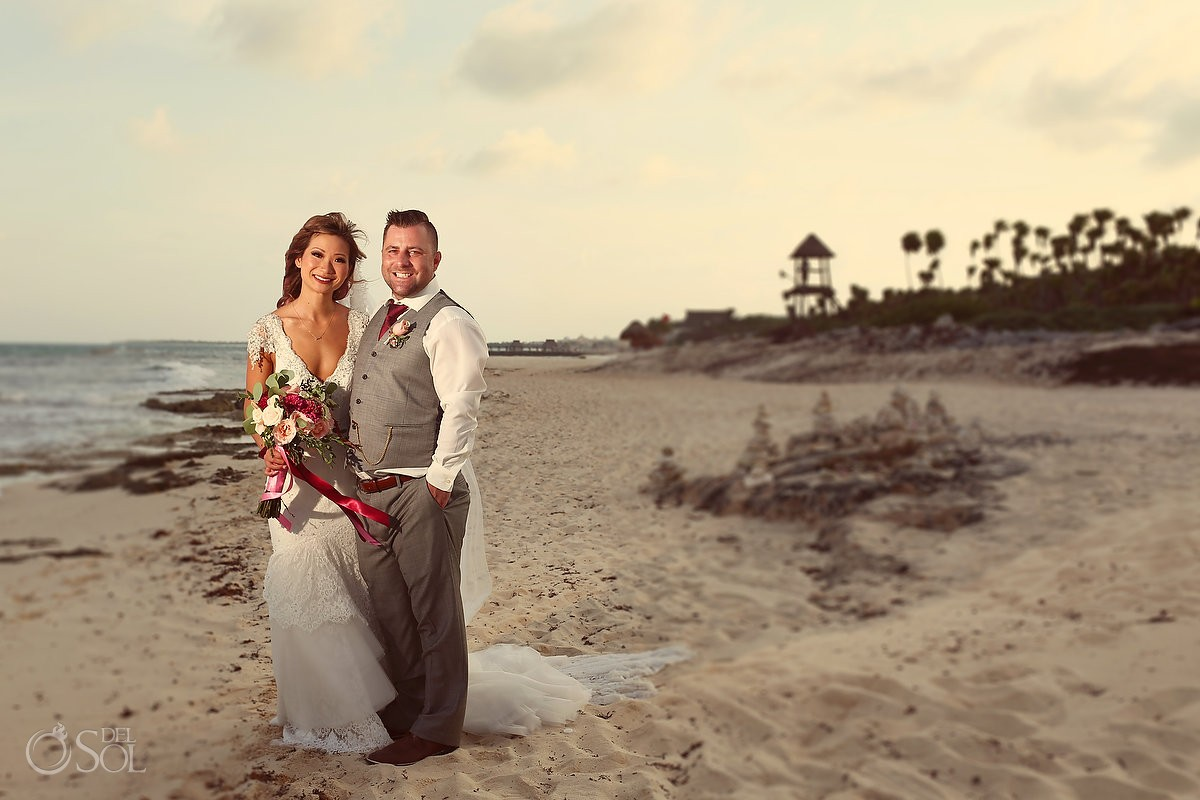 destination wedding formal beach portrait, Valentin Imperial Maya, Playa del Carmen, Mexico