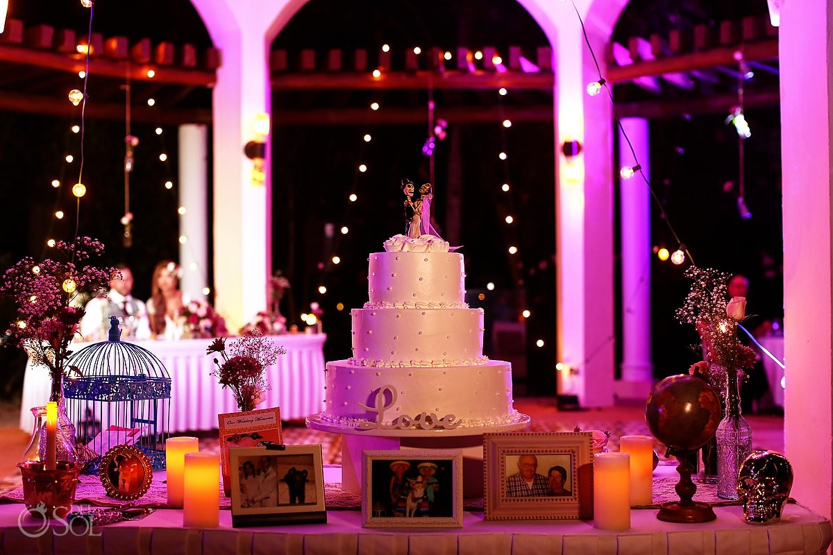 Mexican vibe Mexico style destination wedding cake details, Valentin Imperial Maya gazebo