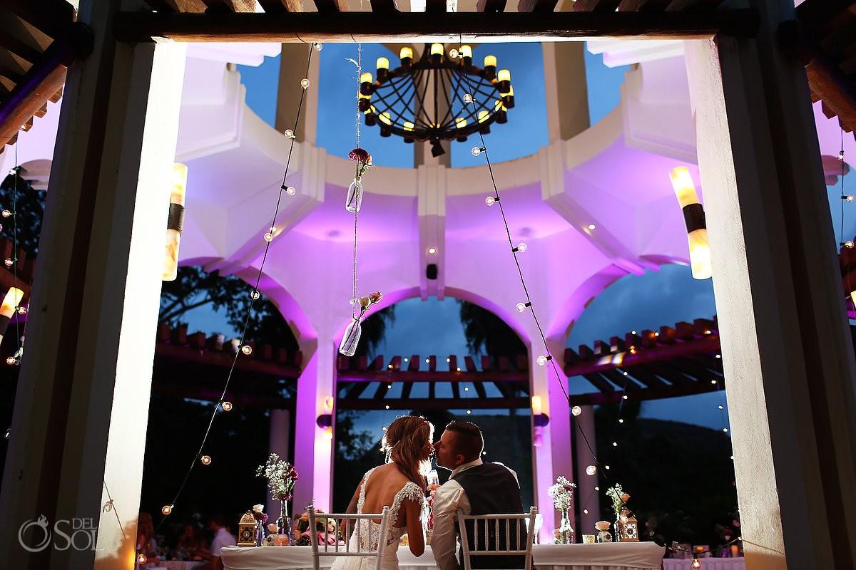 Artistic destination wedding reception portrait, Valentin Imperial Maya gazebo