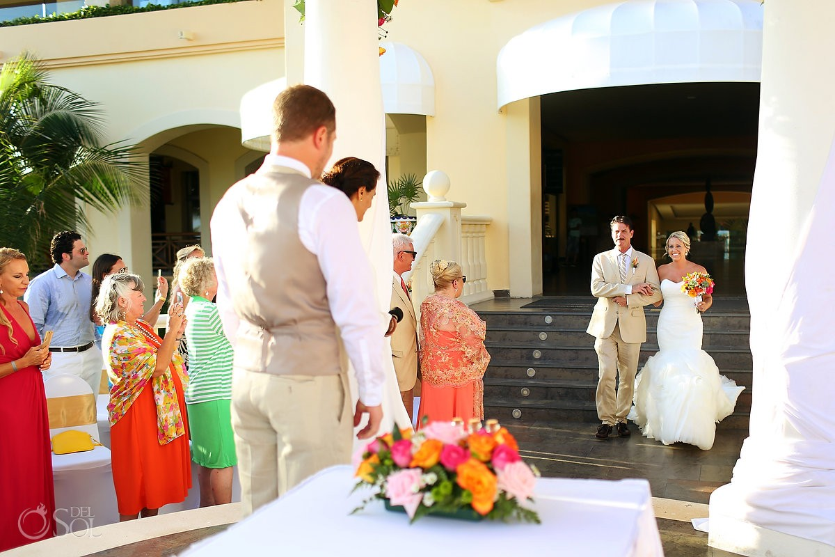 bride entrance Destination Wedding Barceló Maya Palace Deluxe gazebo, Riviera Maya, Mexico