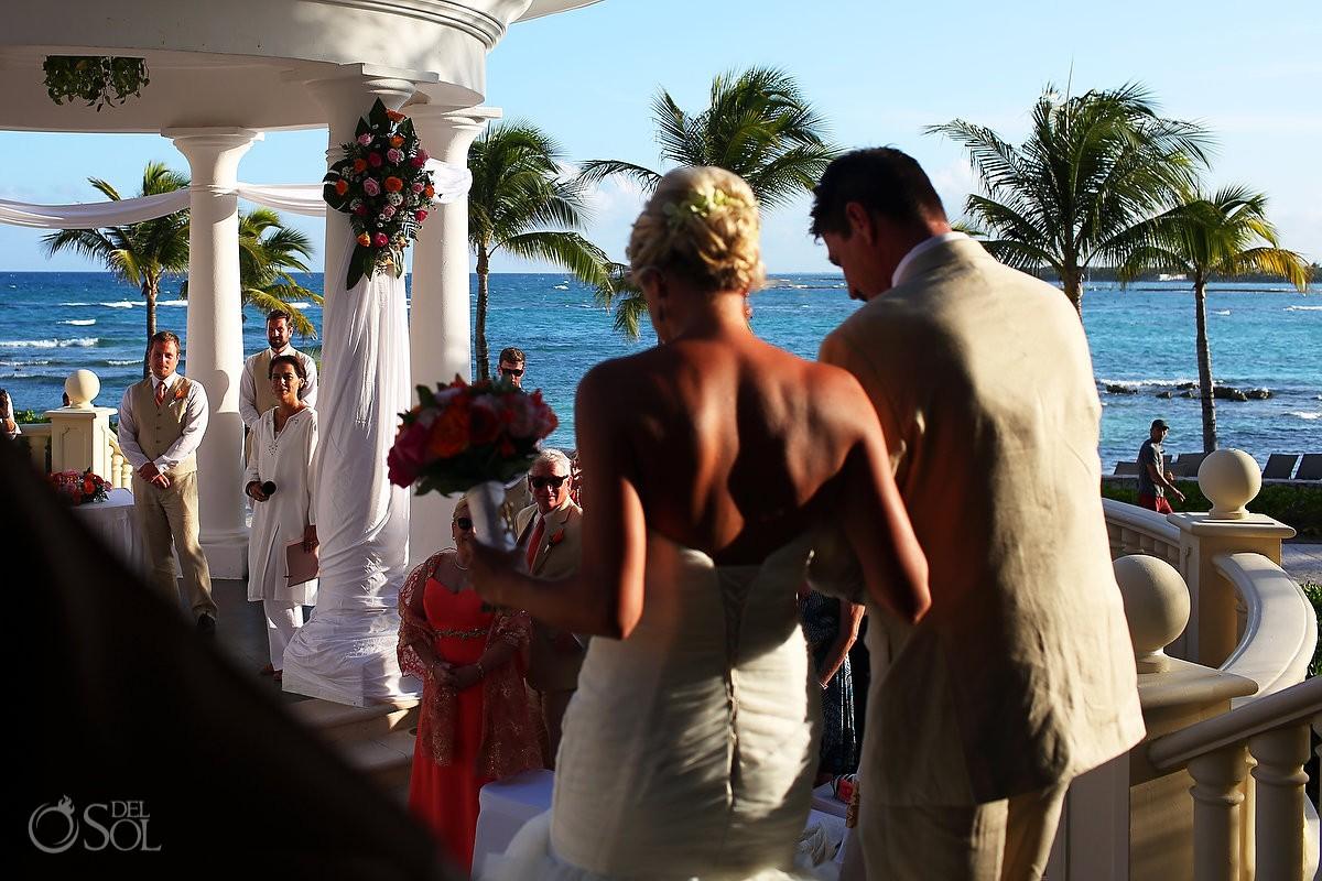 bride entrance first look Destination Wedding Barceló Maya Palace Deluxe gazebo, Riviera Maya, Mexico