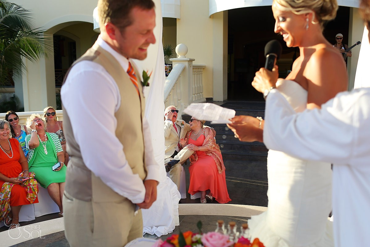 mother father groom laughing funny wedding ceremony moment Barceló Maya Palace Deluxe gazebo, Riviera Maya, Mexico