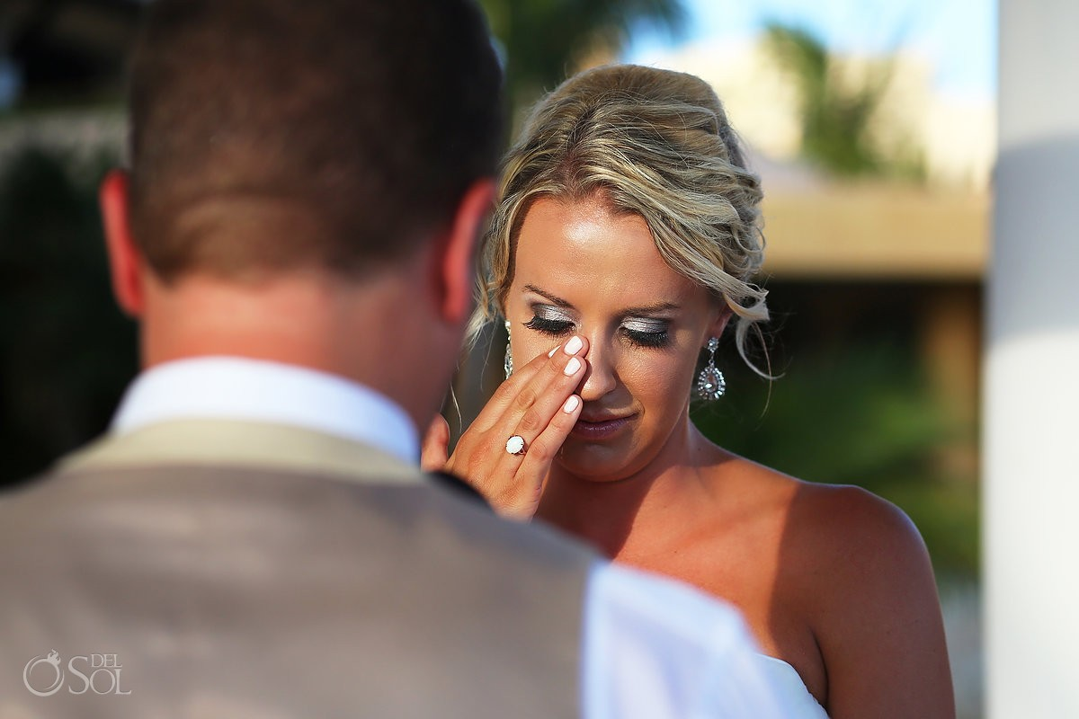 bride crying Destination Wedding Barceló Maya Palace Deluxe gazebo, Riviera Maya, Mexico