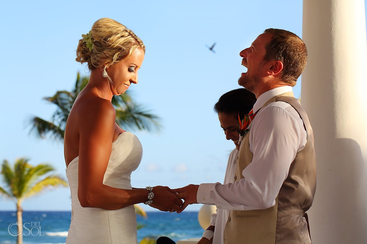 funny wedding picture bird coming out of groom's mouth Barceló Maya Palace Deluxe gazebo, Riviera Maya, Mexico