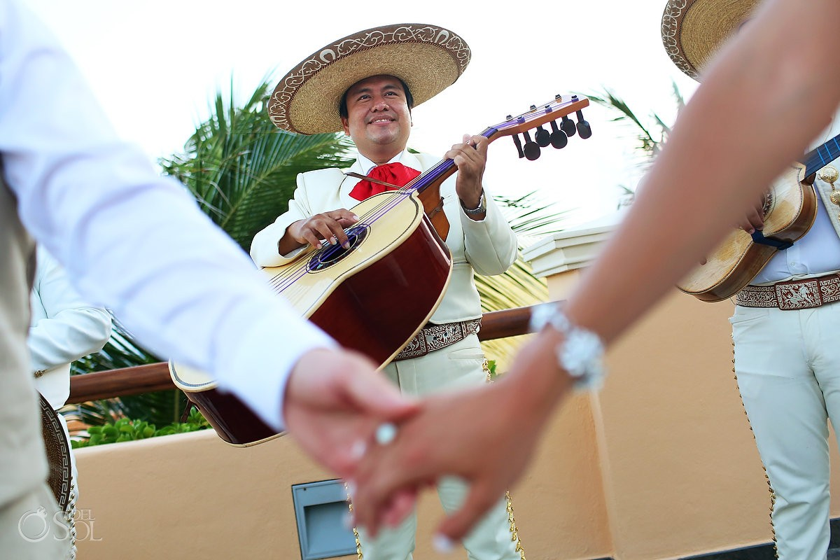 mariachi wedding portrait Destination Wedding cocktail hour Barceló Maya Palace Deluxe, Riviera Maya, Mexico