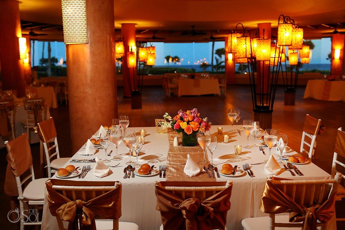destination wedding reception set up Coral Grill Barceló Maya Palace Deluxe, Riviera Maya, Mexico