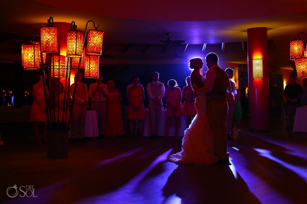Artistic first dance picture destination wedding reception Coral Grill Barceló Maya Palace Deluxe, Riviera Maya, Mexico