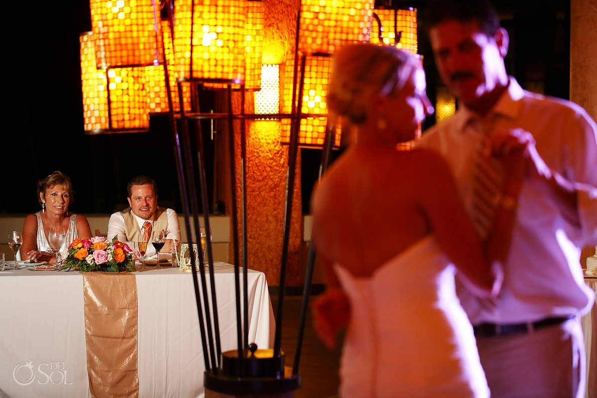 groom watching father daughter first dance wedding reception Coral Grill Barceló Maya Palace Deluxe, Riviera Maya, Mexico