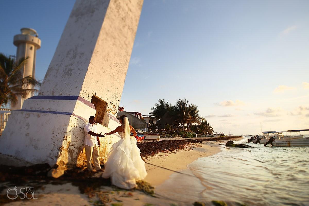 Sunrise wedding portrait trash the dress Eddy K Puerto Morellos pier, Mexico