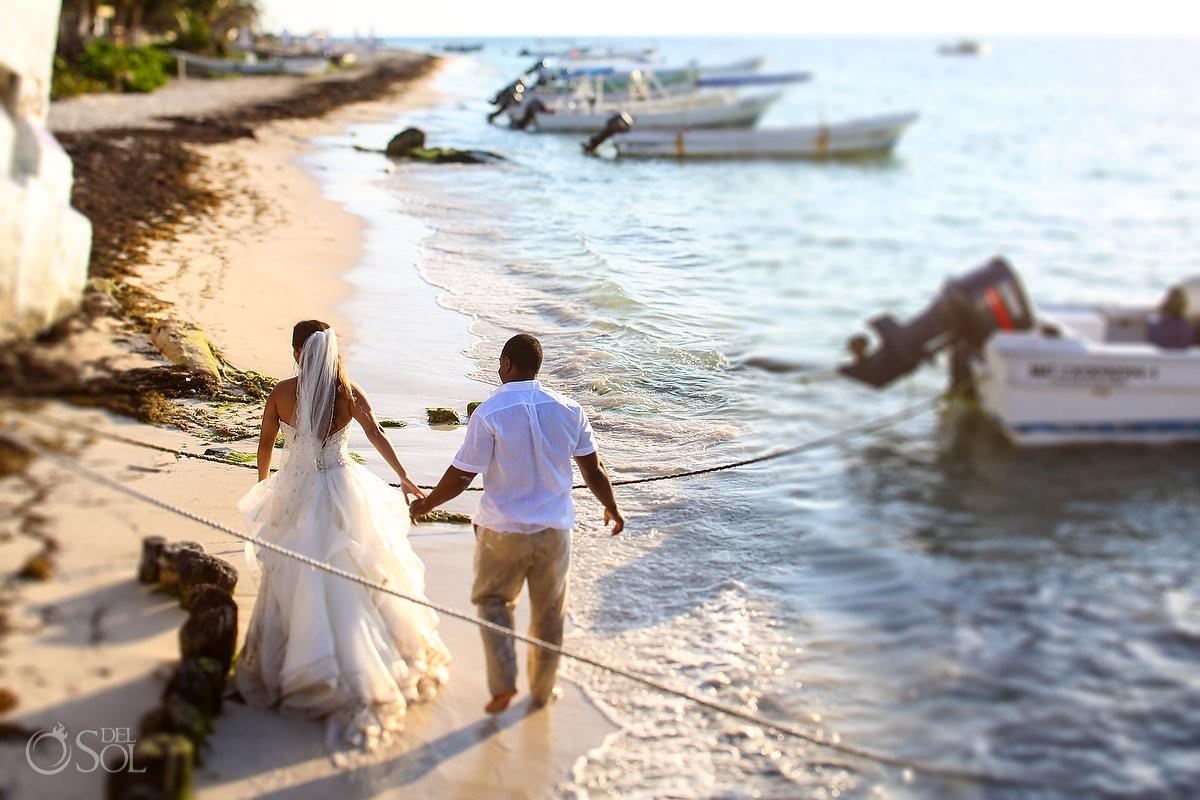 bride groom walking beach Sunrise wedding portrait trash the dress Eddy K Puerto Morellos, Mexico