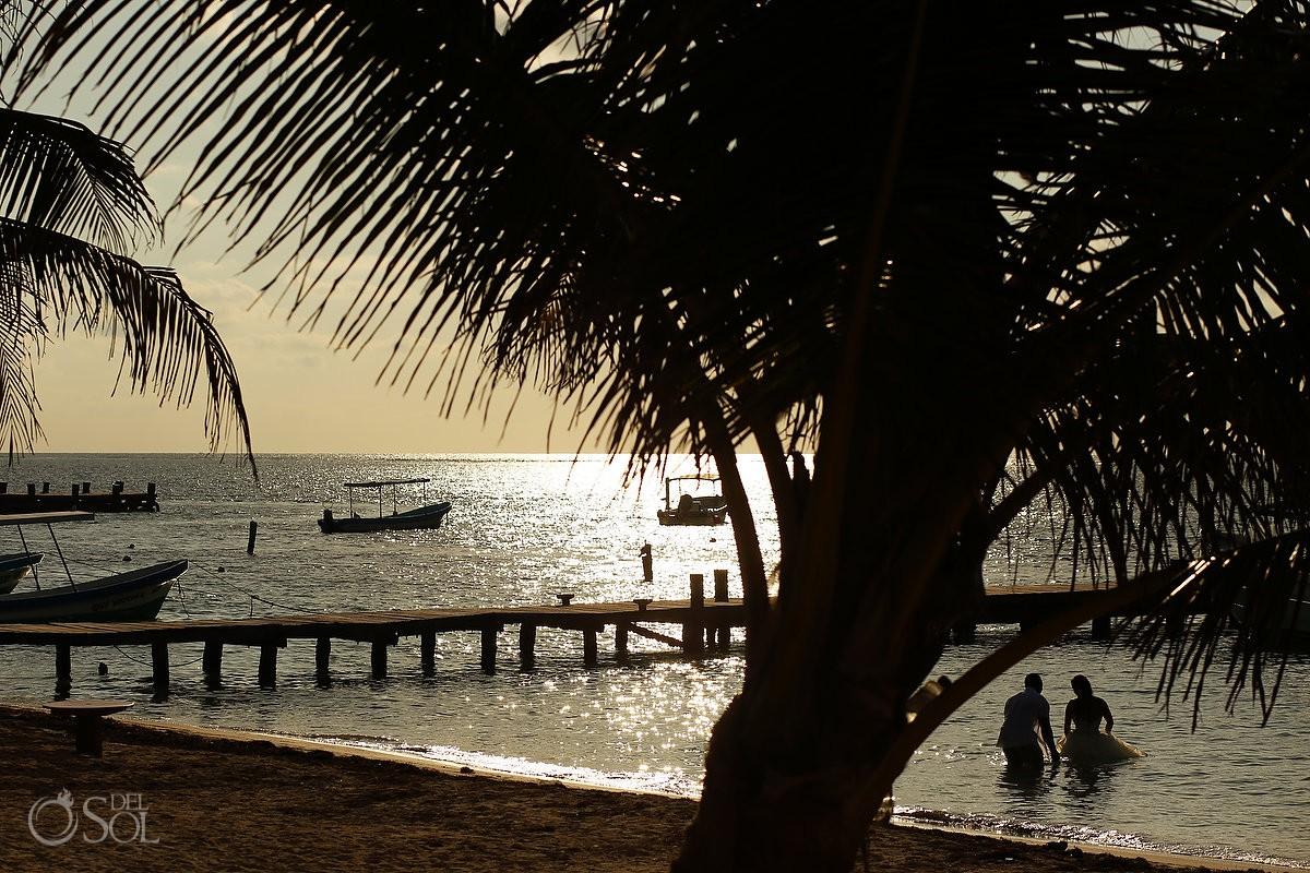 Sunrise beach trash the dress sihouette Puerto Morelos Mexico