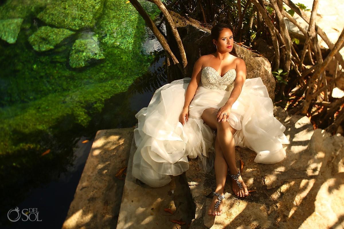 beautiful Latina bride wearing Eddy K wedding dress cenote trash the dress Riviera Maya Mexico