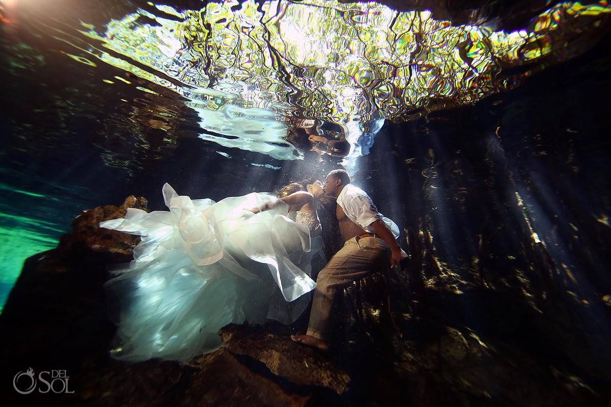 Amazing cenote trash the dress photo underwater wedding Riviera Maya Mexico