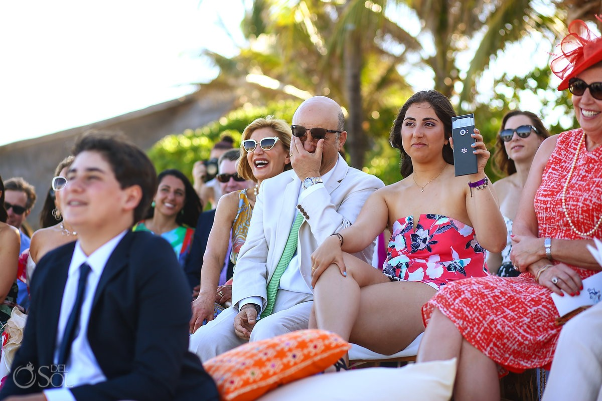 mexico destination wedding guests cry during beach ceremony