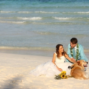 bride and groom with gopro Wedding video-dog-ruff-ers at hotel esencia