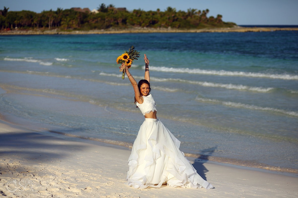 bride celebrating at hotel esencia mexico beach destination wedding