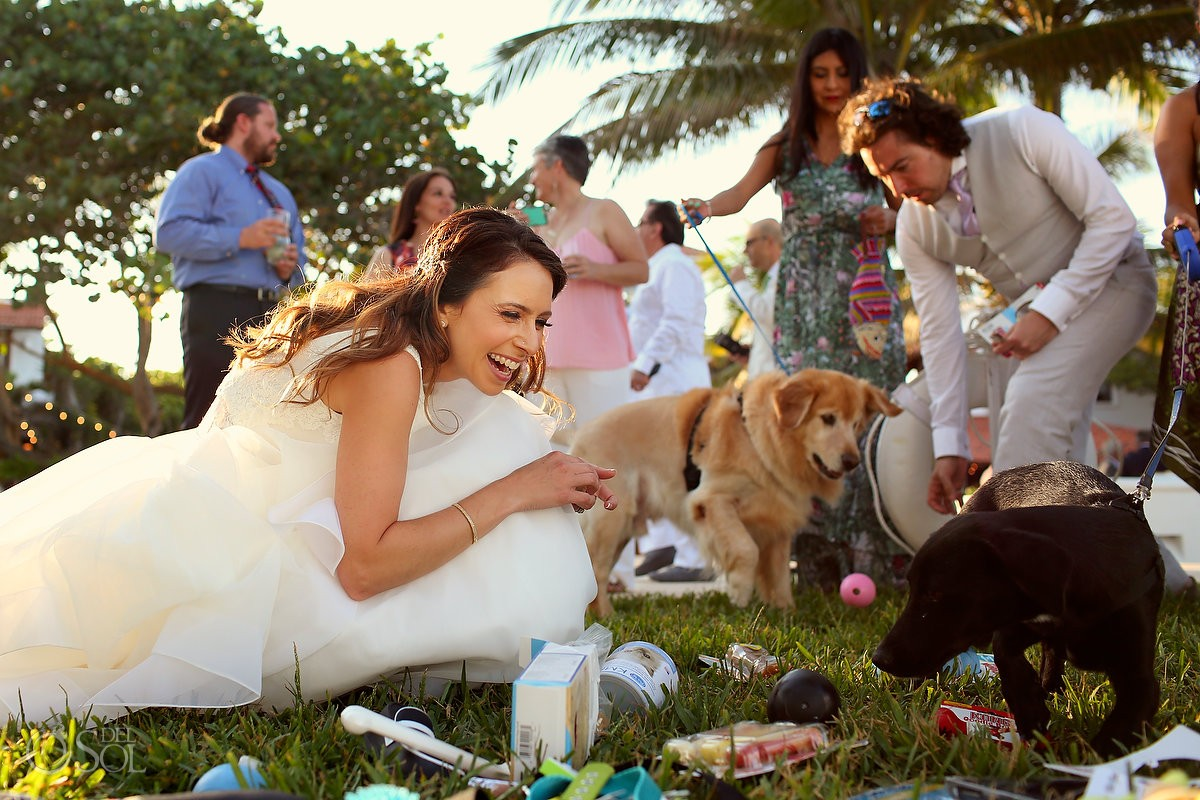 bride with gopro dog wedding videographers at hotel esencia mexico