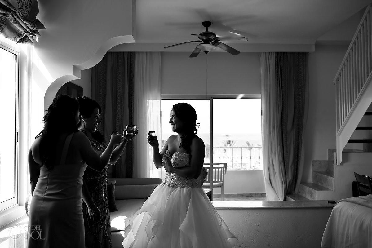 Artistic interior Destination Wedding Black and White portrait, Puerto Morelos, Riviera Maya, Mexico