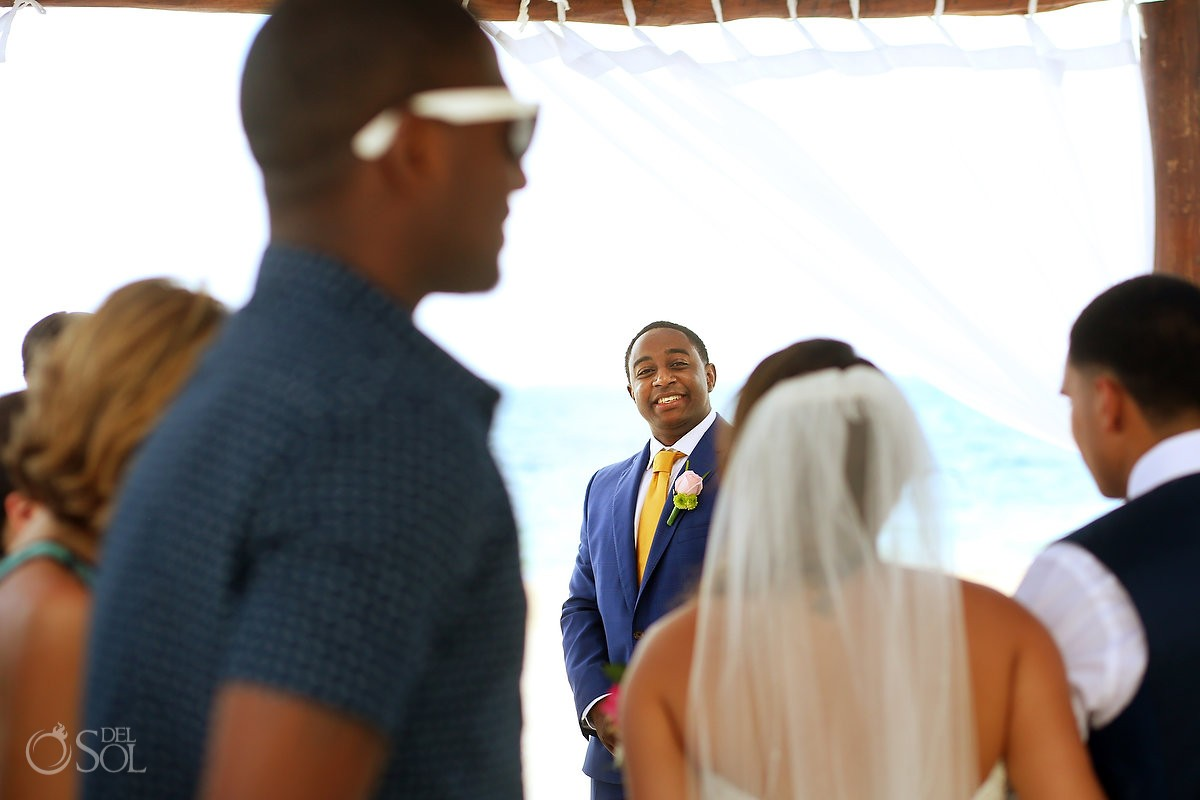First Look Groom and Bride Destination Wedding, Puerto Morelos, Riviera Maya, Mexico.