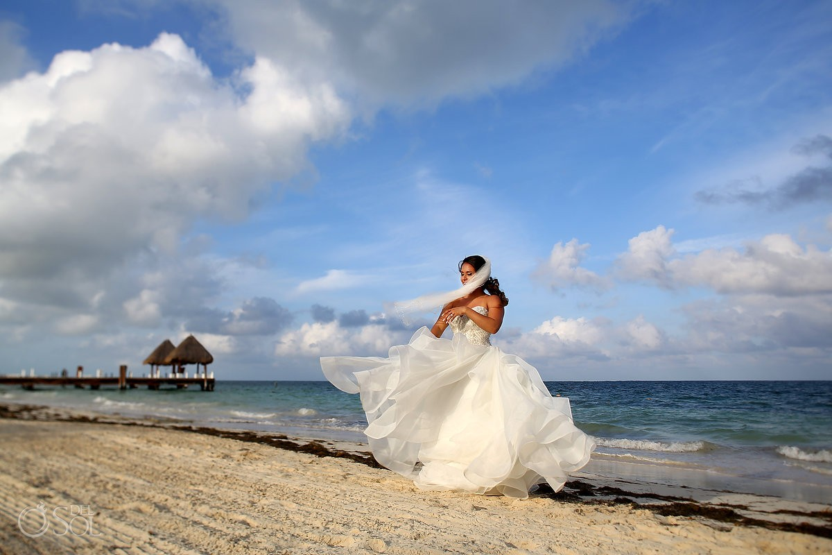 beautiful bride portrait beach destination wedding, Puerto Morelos, Riviera Maya, Mexico