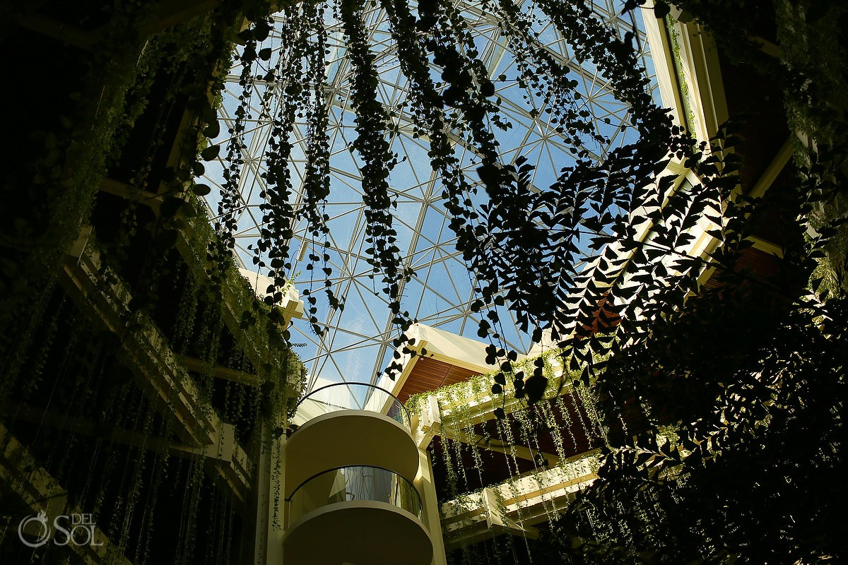 Paradisus Cancun lobby interior hanging garden vines