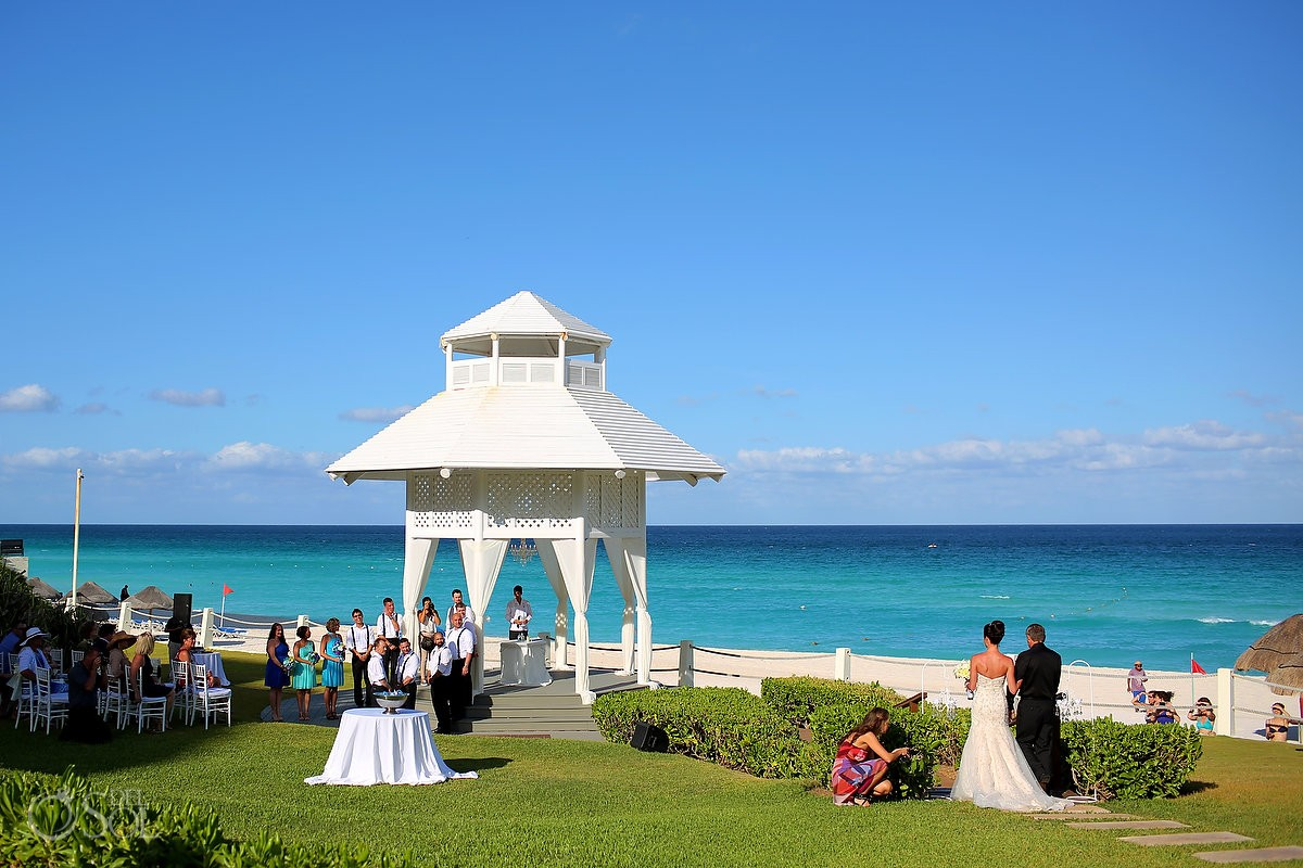 Bride entrance Gazebo Destination Wedding Ceremony Paradisus Cancun, perfect blue Caribbean ocean sky