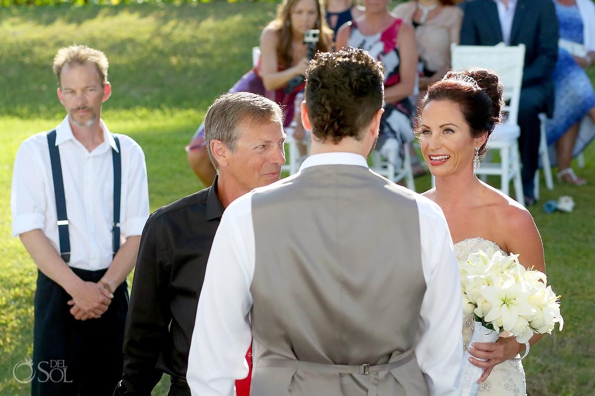 First look Destination wedding ceremony Paradisus Cancun Gazebo, Mexico.