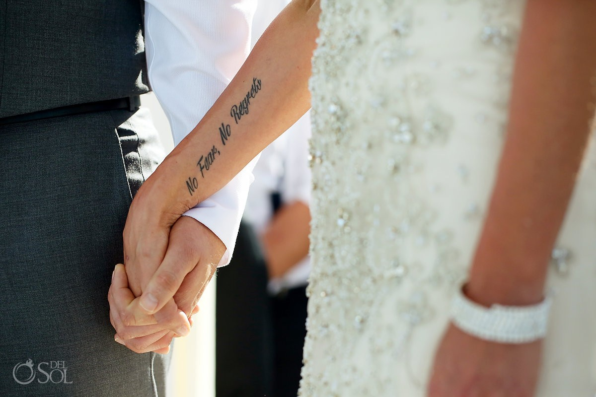 No fears no regrets Bride Tattoo idea Destination wedding ceremony Paradisus Cancun Gazebo, Mexico.
