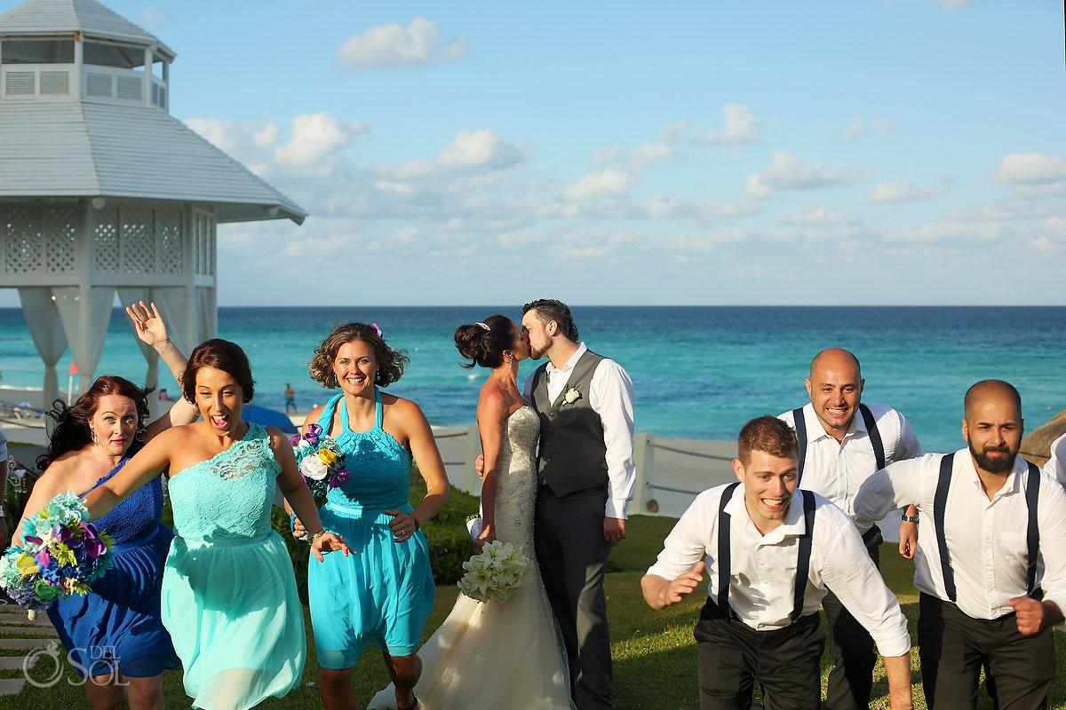 fun bridal party photo Destination wedding Paradisus Cancun Gazebo, Mexico.