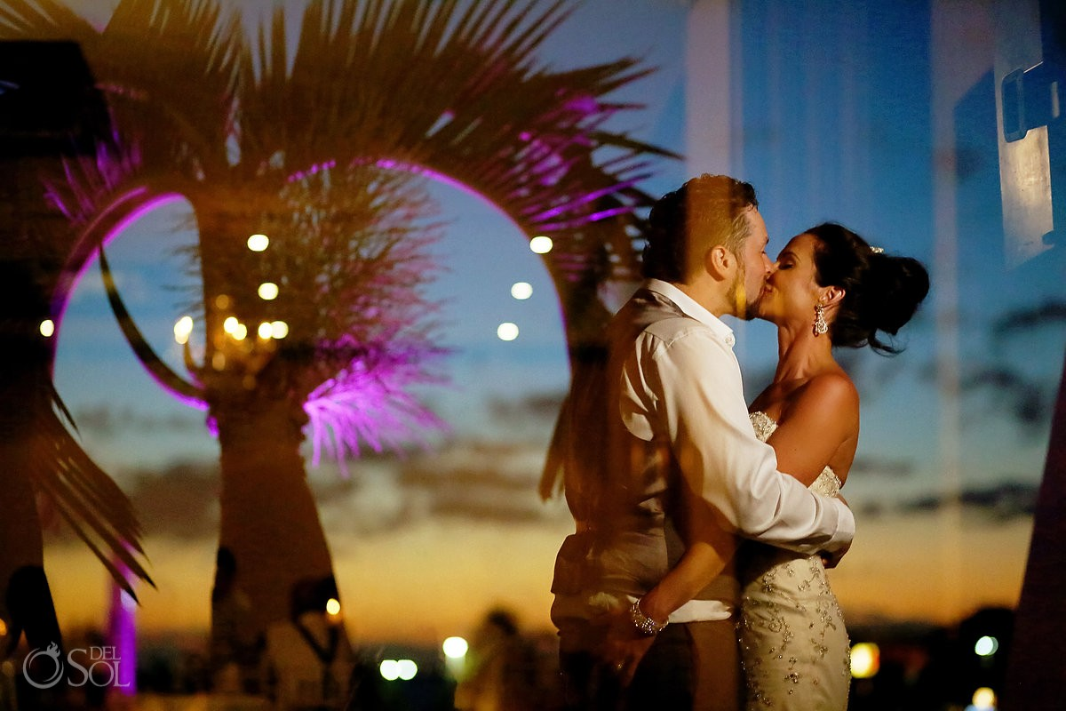 creative night time portrait reflection Destination wedding reception Paradisus Cancun ballroom, Mexico.