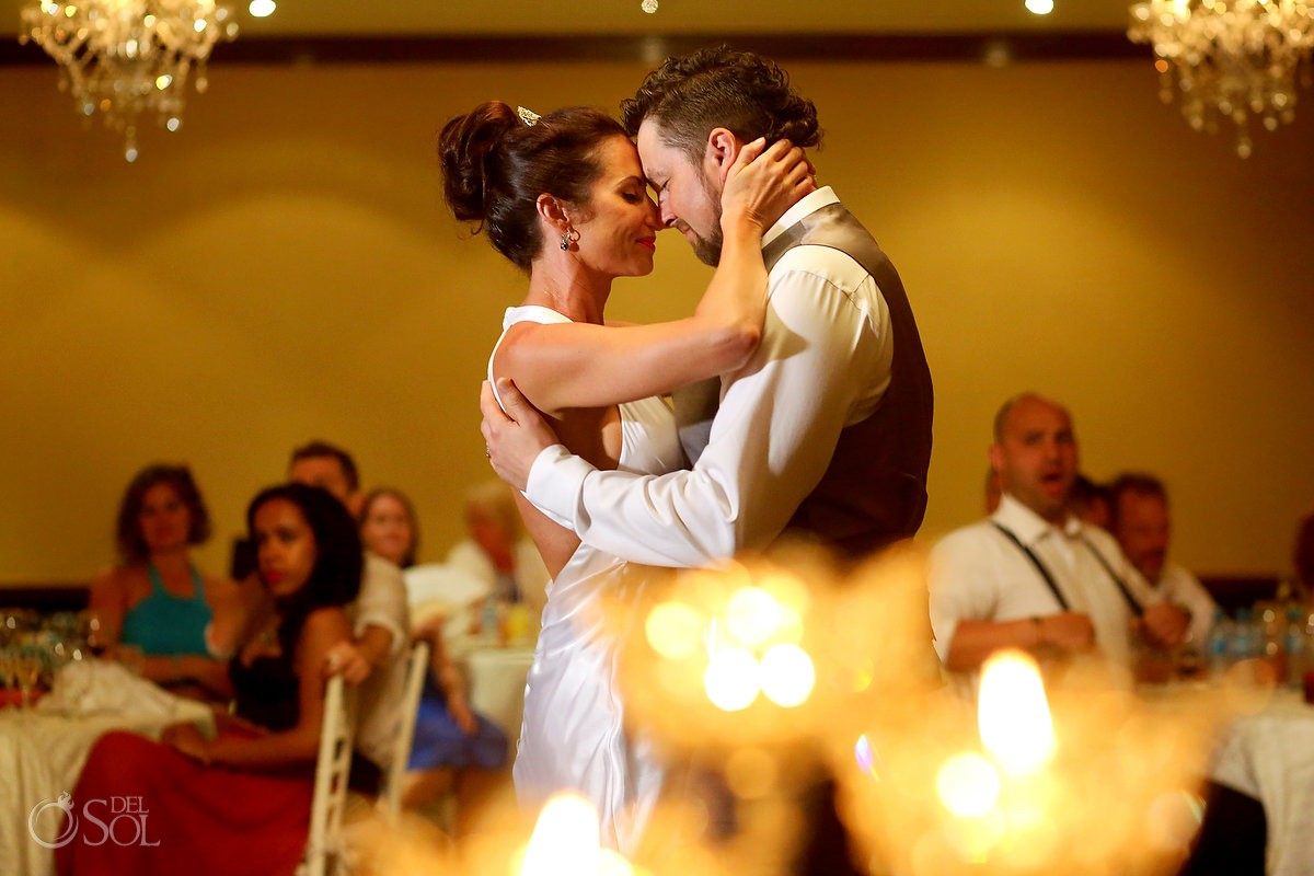 First Dance Destination wedding reception Paradisus Cancun ballroom, Mexico.