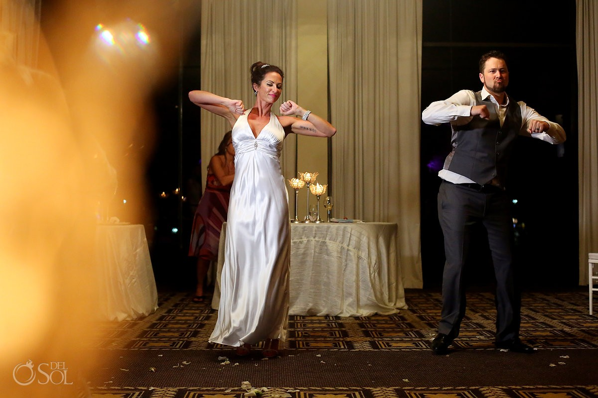 funny 80s choreography first dance idea Destination wedding reception Paradisus Cancun ballroom, Mexico.