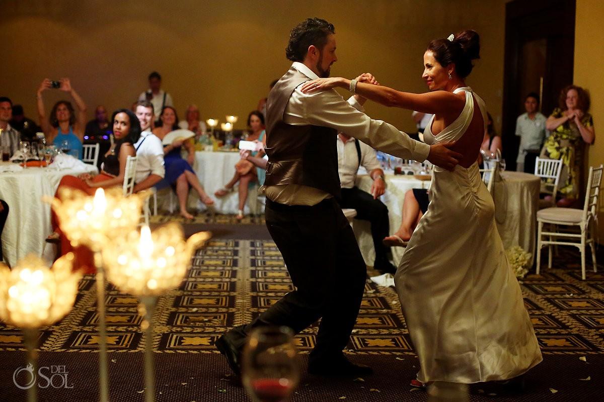 Fun first Dance photo Destination wedding reception Paradisus Cancun ballroom, Mexico.