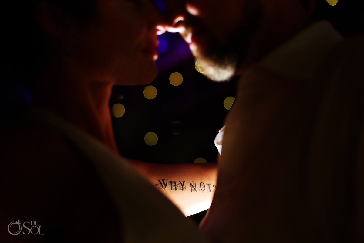 Bride tattoo why not? Night Wedding portrait detail Destination wedding reception Paradisus Cancun, Mexico.