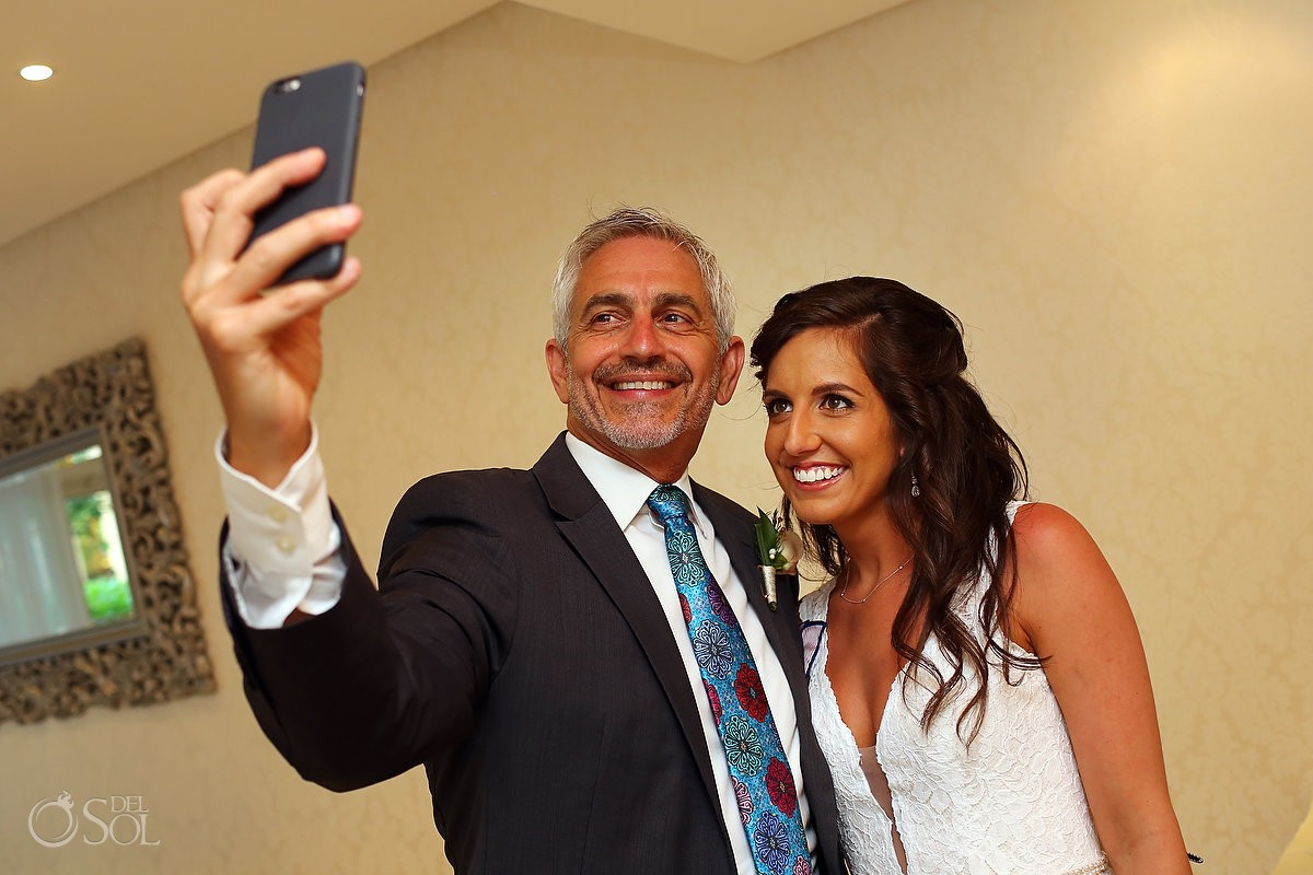 father bride selfie getting ready bridal suite destination wedding Paradisus La Perla, Playa del Carmen Mexico