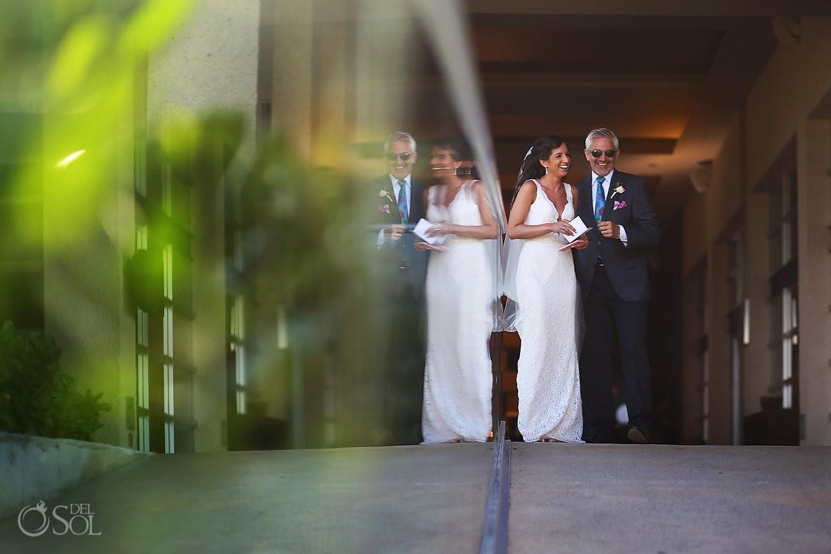 father bride waiting Gabi bridge destination wedding Paradisus La Perla, Playa del Carmen Mexico