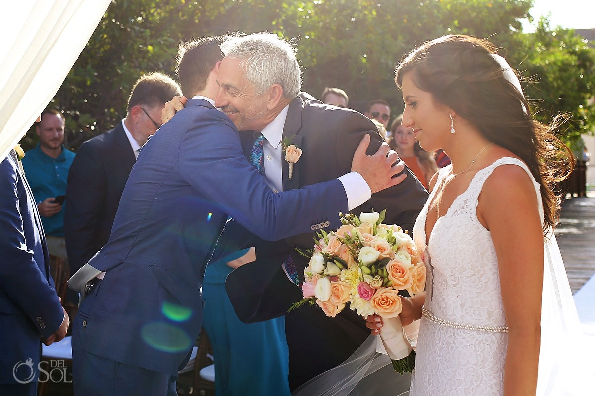 family love father bride hugs groom Gabi Bridge destination wedding Paradisus La Perla, Playa del Carmen Mexico