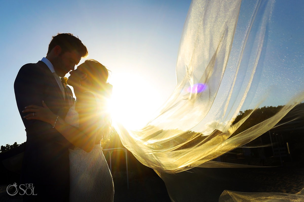 Sunset wedding portrait silhouette Gabi Bridge destination wedding Paradisus La Perla, Playa del Carmen Mexico