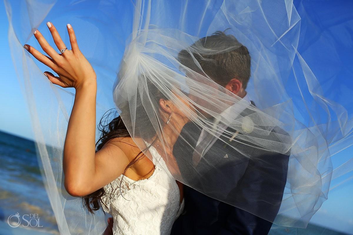 beach wedding portrait Gabi Bridge destination wedding Paradisus La Perla, Playa del Carmen Mexico