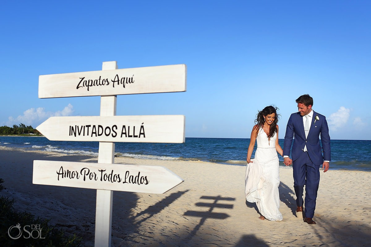 shoes here vows there love everywhere sign Spanish Gabi Bridge destination wedding Paradisus La Perla, Playa del Carmen Mexico