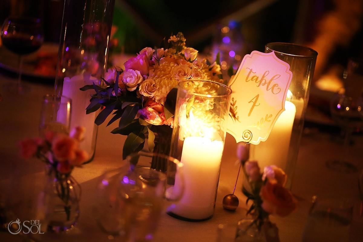 Table settings destination wedding reception Paradisus La Perla Gazebo, Playa del Carmen Mexico