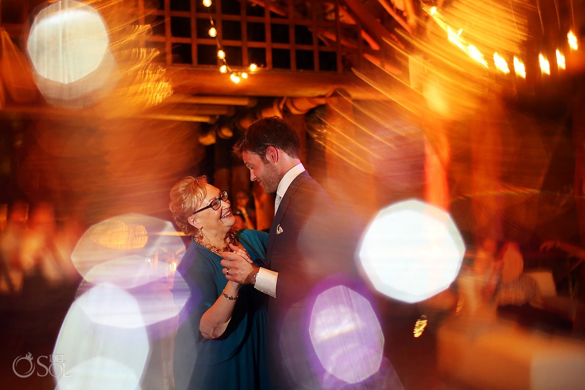 mother son groom dance destination wedding reception Paradisus La Perla Gazebo, Playa del Carmen Mexico